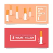 世界无烟日烟头元素图形背景
