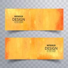黄色艺术水彩效果横幅