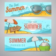 三个夏季元素横幅背景