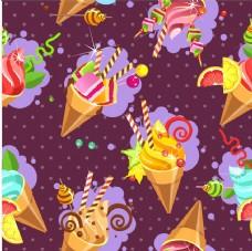 彩色冰淇淋图案矢量素材下载