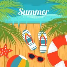 扁平风格夏季元素海滩背景