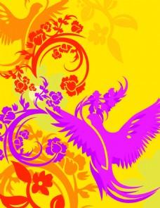 矢量鸟类花纹素材背景