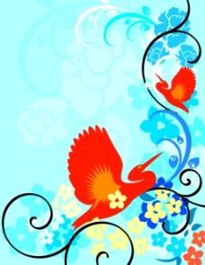 矢量鸟儿元素花纹背景