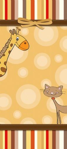 幼稚的卡通动物卡片模板