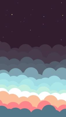 彩色云朵星空可爱卡通促销海报背景设计