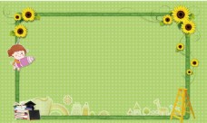 黄色花朵边框绿色背景