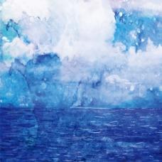 手绘蓝色背景