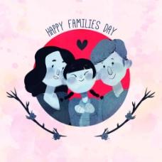 可爱的水彩风格幸福的家庭背景