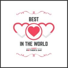 母亲节艺术字与红色的心图案