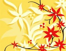 红色矢量花卉背景图