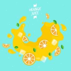 蓝色背景与橙汁插图