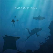 深海动物潜水海报