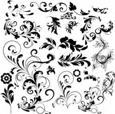 黑色花卉图案矢量素材下载