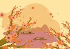 日本风桃花插画