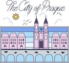 手绘布拉格城堡