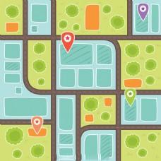 城市地图插图背景矢量素材