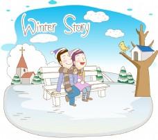 矢量情侣冬季素材