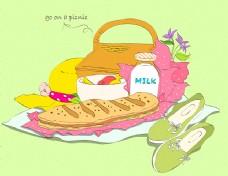 卡通食物面包素材