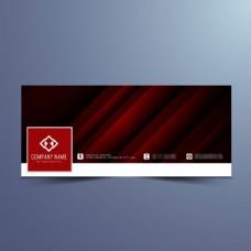 深红色横幅设计Facebook背景