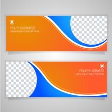 橙色蓝色抽象图案商业横幅模板