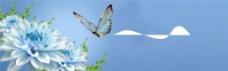 唯美蓝色鲜花蝴蝶背景图