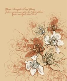 矢量素描花卉素材背景