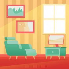 扶手椅沙发电视室内场景矢量素材