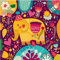卡通花与大象矢量图