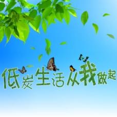 蓝天树叶蝴蝶素材