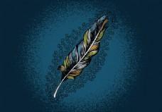 复古手绘羽毛