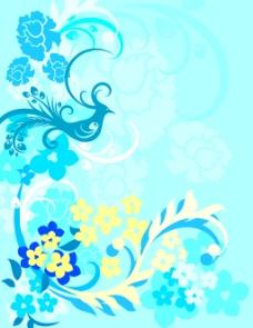 花纹素材蓝色背景