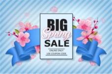 春季购物促销丝带与花朵背景矢量素材下载
