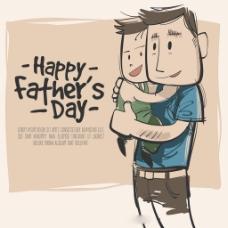手绘父亲儿子插图背景