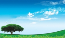 蓝天白云草地树木背景