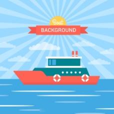 扁平风格轮船海上蓝天阳光背景