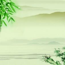 中国风竹子山水淡墨素材