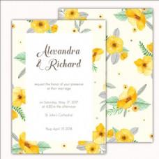 黄色水彩花卉婚礼邀请卡