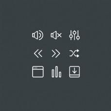 声音箭头扁平化的细线系统软件常用图标