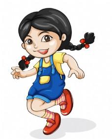卡通可爱美女跳高EPS