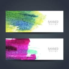彩色水彩笔触横幅广告背景