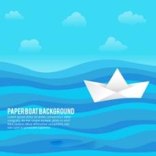蓝色波浪背景与纸船平面设计插图