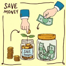 手绘储蓄金币钞票插图背景
