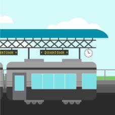 扁平风格火车站户外背景