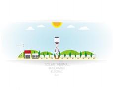 太阳能发电插画背景矢量素材下载