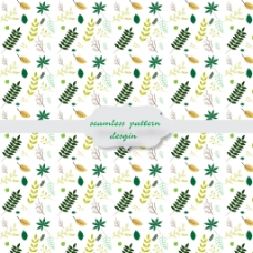 白色背景叶子图形装饰图案矢量素材