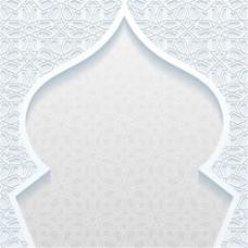 清真寺轮廓白色背景矢量素材下载