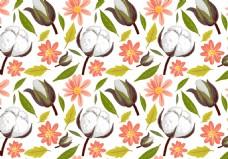 清新手绘棉花花卉背景素材