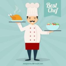 快乐厨师鸡肉沙拉背景