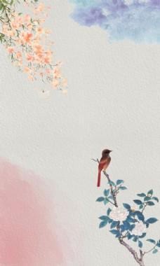 花鸟水彩泼墨古典文艺背景