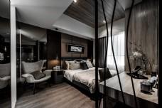 港式时尚卧室大床背景墙设计图
